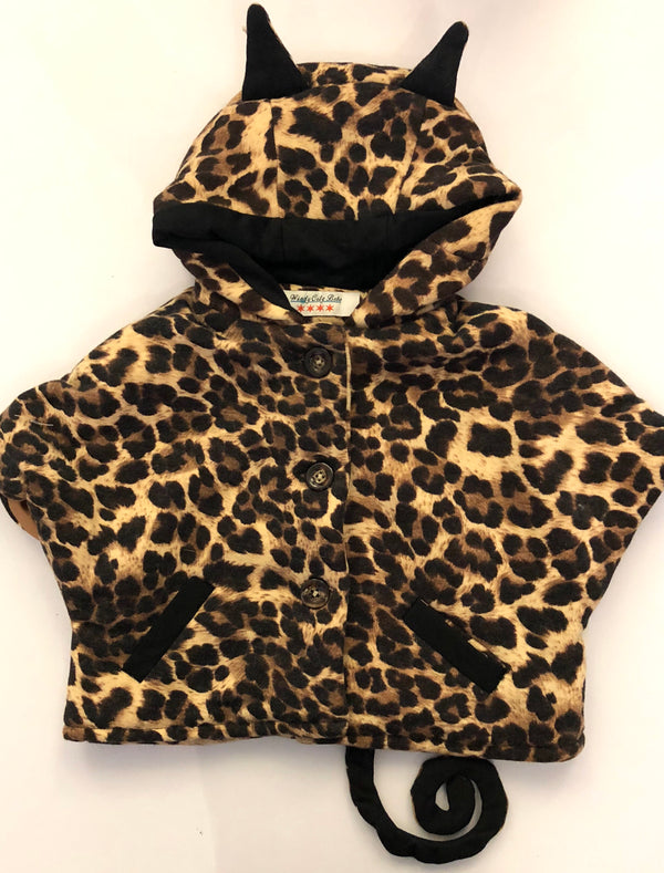 Fleece Leopard Poncho With Cat Ears & Tail