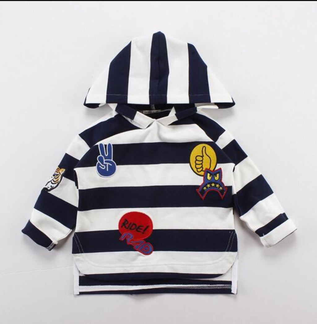 Striped Patch Applique Hooded Long Sleeve Tee
