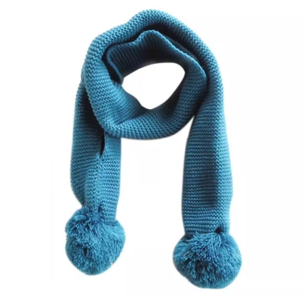 WCB Knit Pom Pom Scarf with Hand Cuffs -Blue
