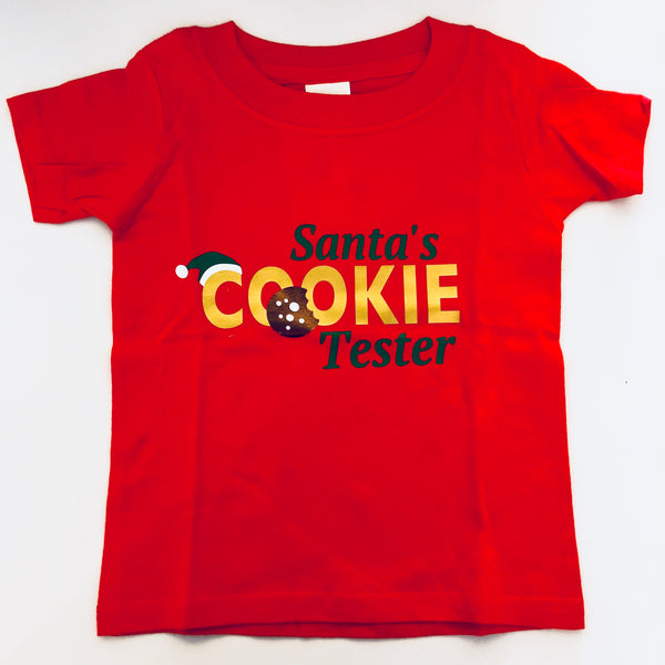 SALE Santa's Cookie Tester Printed Tee or Onesie