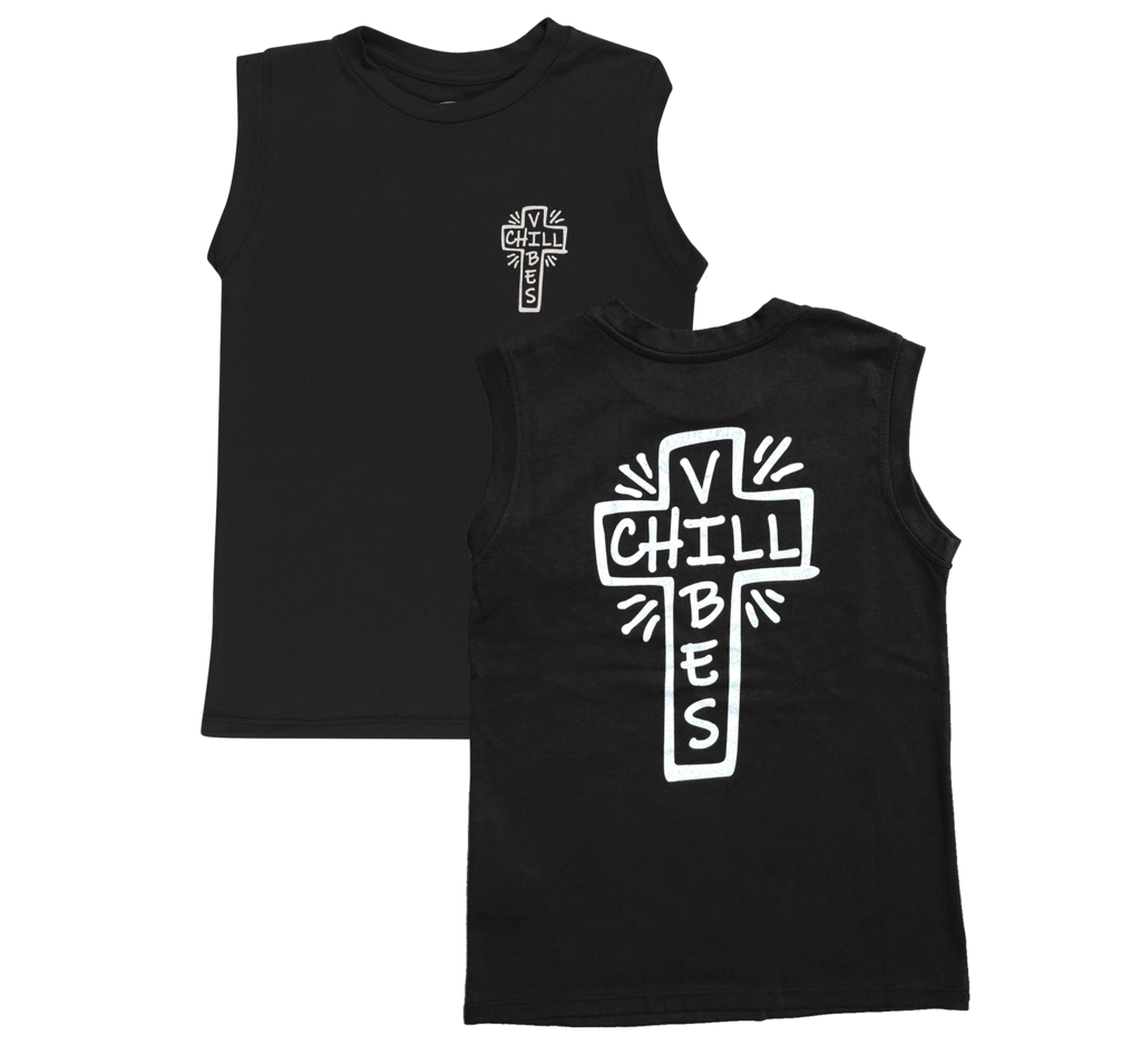 Tiny Whales Chill Vibes Black Muscle Tee Tank