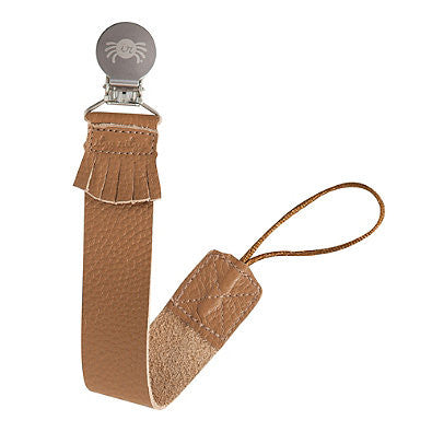 Itzy Ritzy Genuine Leather Pacifier Clip  Tan