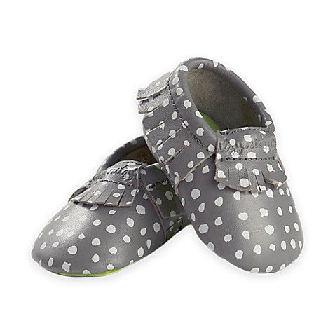 Itzy Ritzy Moccasins Grey Polka Dot Leather