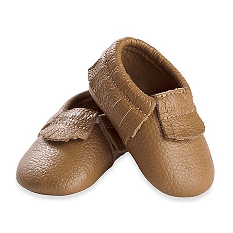 Itzy Ritzy Moccasins Toasted Almond Leather