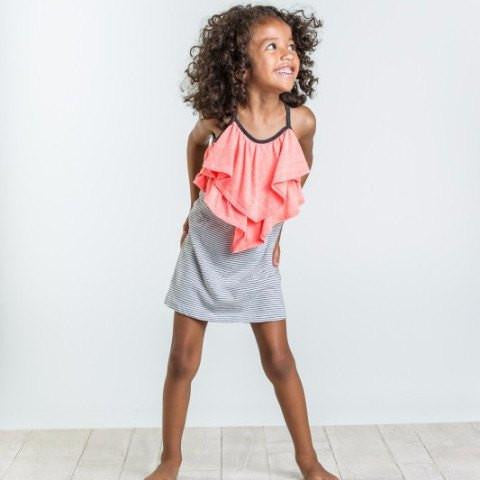 Joah Love Joelle Stripe Dress with Coral Ruffle
