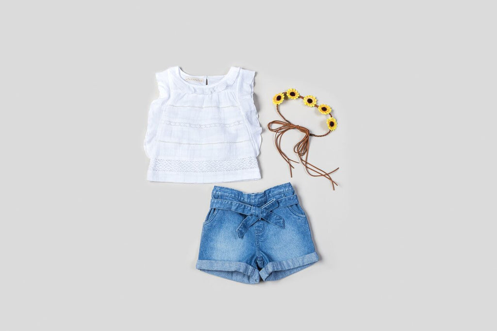 KinderKind Kids Lace Top With Shorts Set