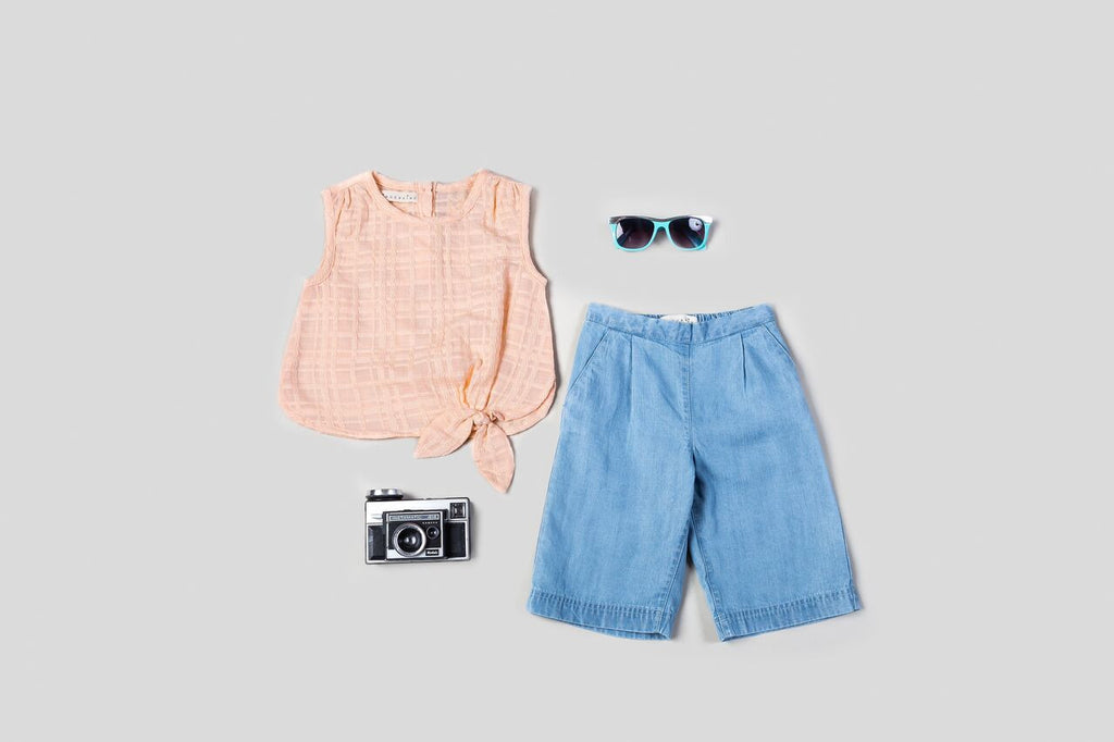 KinderKind Kids Side Tie Top with Culottes Set