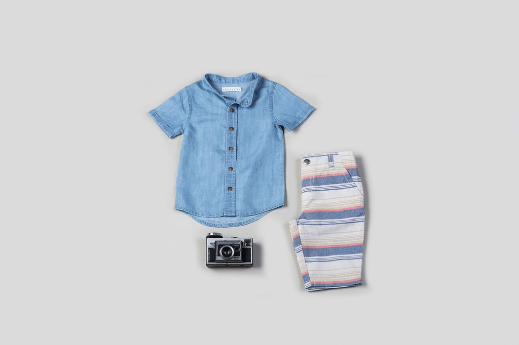 Chambray Denim Shirt & Printed Shorts Set