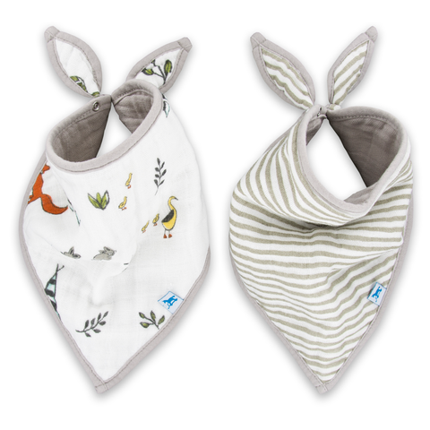 Little Unicorn Neutral Forest Bandana Bib 2 pack Set