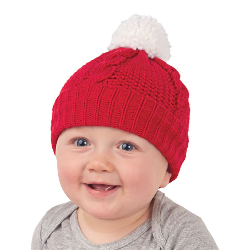 Mud Pie Red Knit Pom Pom Hat