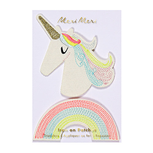 unicorn rainbow iron on patches for jacket backpack patch kids style meri meri cool hipster