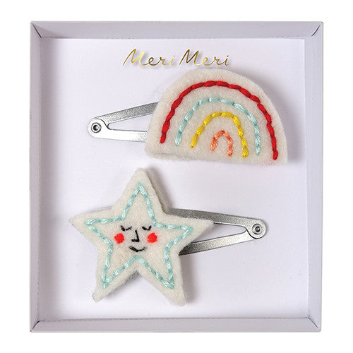 meri meri fashion embroidered rainbow star hair clips cool kids hair accessories