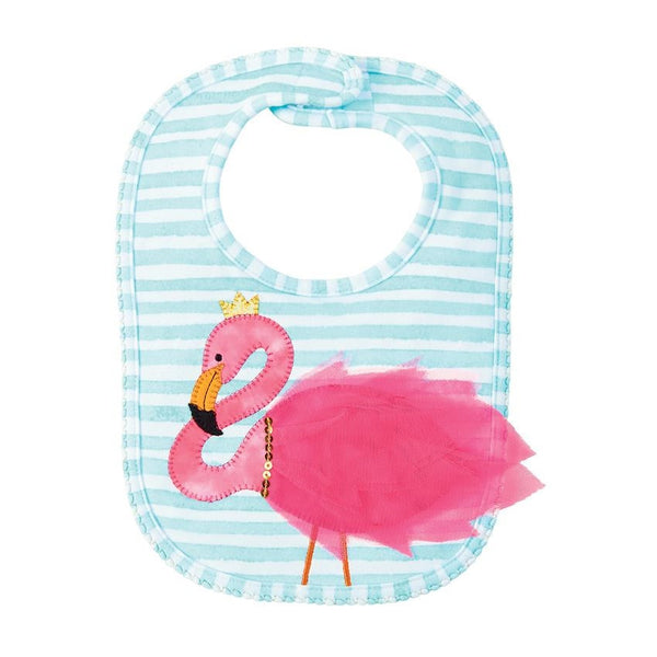 mud pie flamingo bib with ruffle striped for infant toddler baby