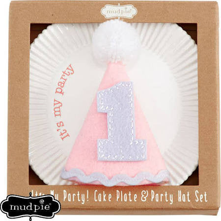 Mud Pie Its My Party Plate & Hat Pink