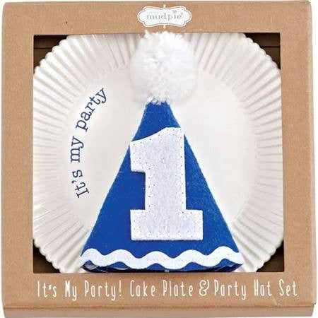 Mud Pie Its My Party Plate & Hat Blue