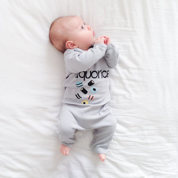 SALE 0-3m ONLY Moobles & Toobles Liquorice Romper