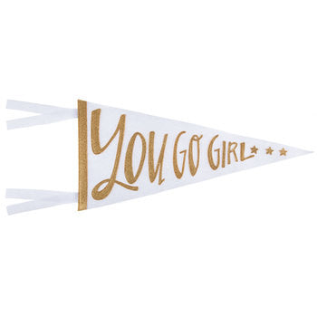 YOU GO GIRL PENNANT wall decor nursery gold glitter white bedroom gallery wall