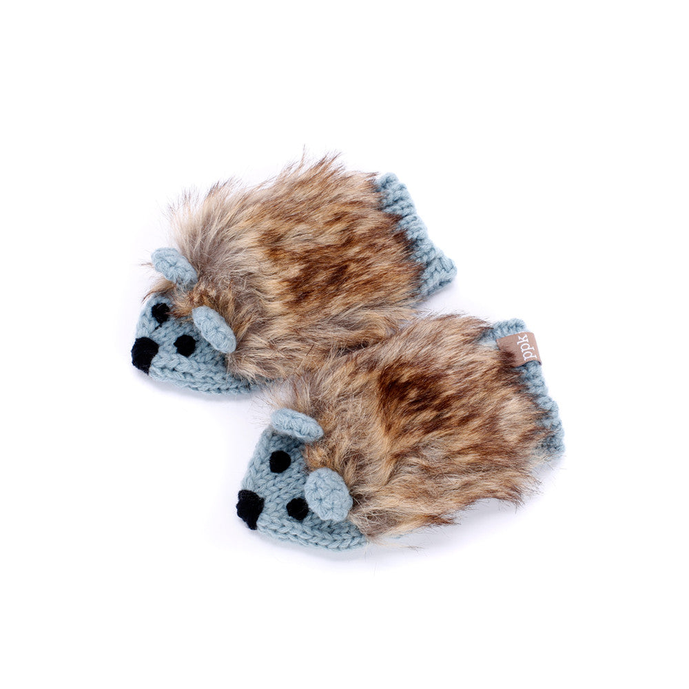 Peppercorn Kids Hedgehog Mittens Blue