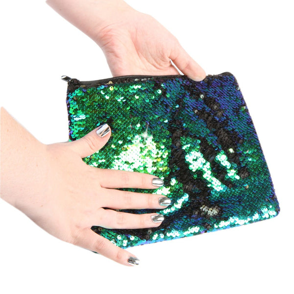 Magic Sequin Mermaid Pouch Bag -Turquoise