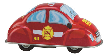 Toysmith Fast Action Pull Back Tin Fire Department Car
