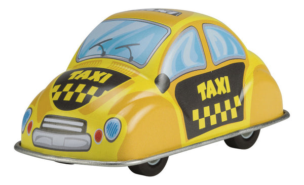 Toysmith Fast Action Pull Back Tin Taxi Car