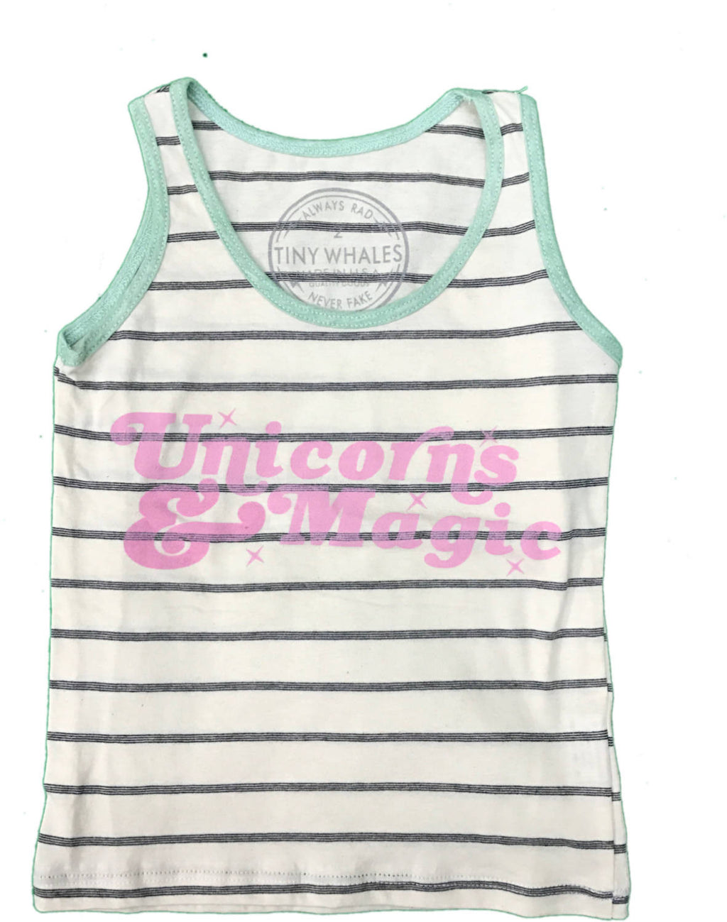 tiny whales unicorns and magic tank top tee girls boys unisex tank