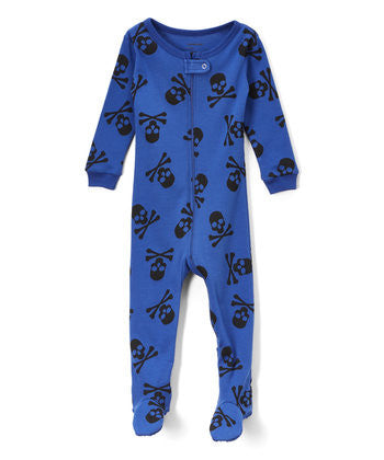 Toddler Blue Skull Footie Jammies- Pajamas