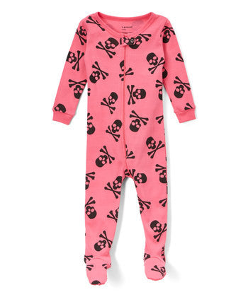 Toddler Pink Skull Footie Jammies- Pajamas