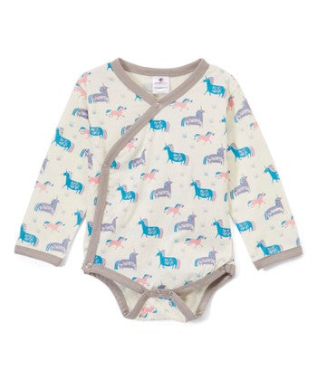 infant newborn unicorn printed onesie kimono top
