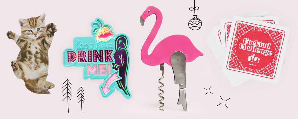 Gift guide for women with flamingo bottle opener, drinks topper, cat nail files and cocktail card game.