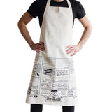 Man wearing beige apron with BBQ recipes and guides printed on the front.