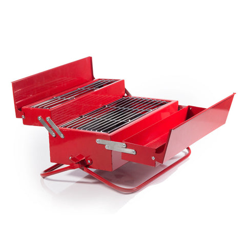 Red BBQ Toolbox unfolded on a white background