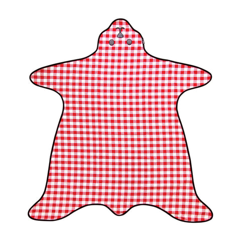 Red Gingham Bear Skin Picnic Rug unfolded