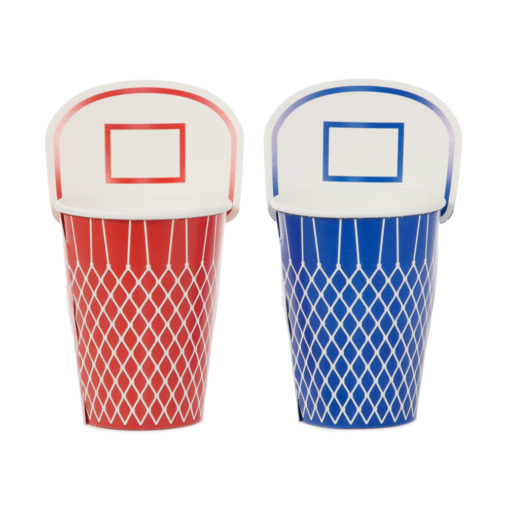Basketball cups in red and blue with basket design