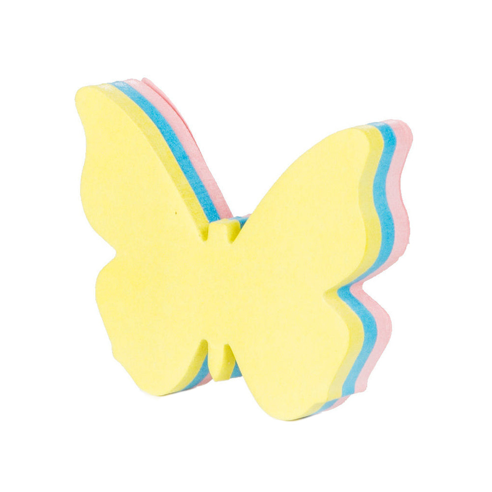 Butterfly shaped post it notes in yellow, pink and blue.