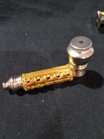 Gold Metal Pipe with Lid and Red Stone Decor