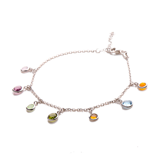 NAILA Sterling Silver Gold Plated Multicolored Link Charm Bracelet