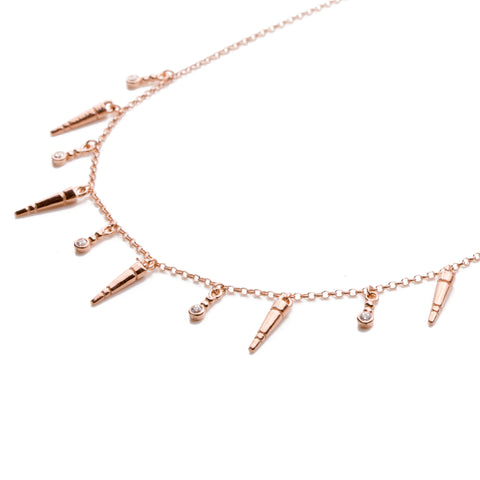 Milania Sterling silver multy chain choker with zirconia