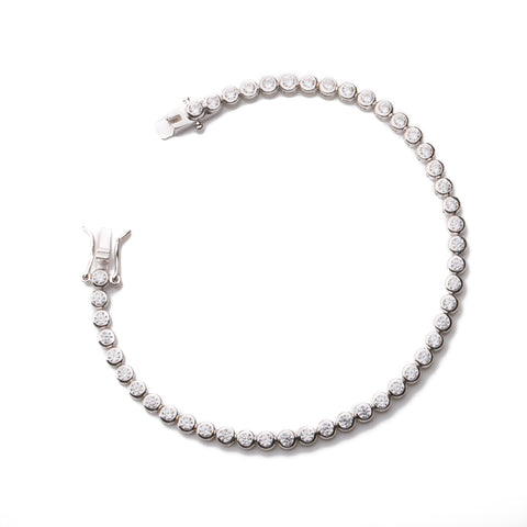 WHITE ONIS ON WHITE Sterling Silver white gold plated adjustable bracelet with white zirconia infinity charm