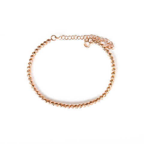 CELINE Sterling Silver Rose Gold Plated Tennis Bracelet with Cubic Zirconia Charms