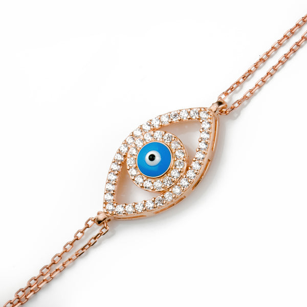 DAISY Sterling Silver Gold Plated Evil Eye Charm Pave White Zirconia