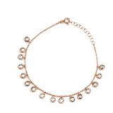 RISHIMA Sterling Silver Gold Plated Chain Bracelet with Cubic Zirconia Charms