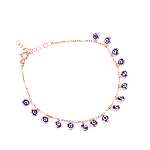 ARIADNE Sterling Silver Gold Plated Tennis Bracelet with Multicolored Cubic Zirconia Charms