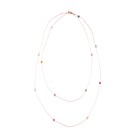 AKSHITA Sterling Silver Gold Plated Multicolored Cubic Zirconia Chain
