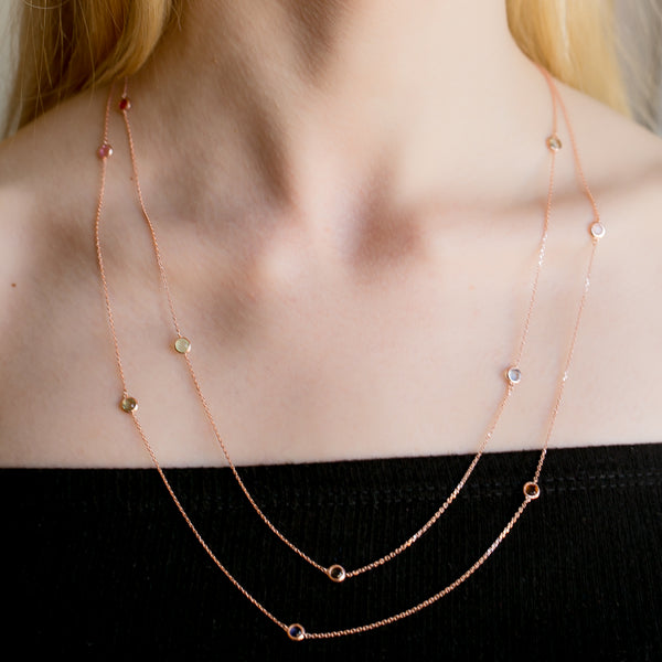 ABIGAIL Sterling Silver Gold Plated Multicolored Double Chain