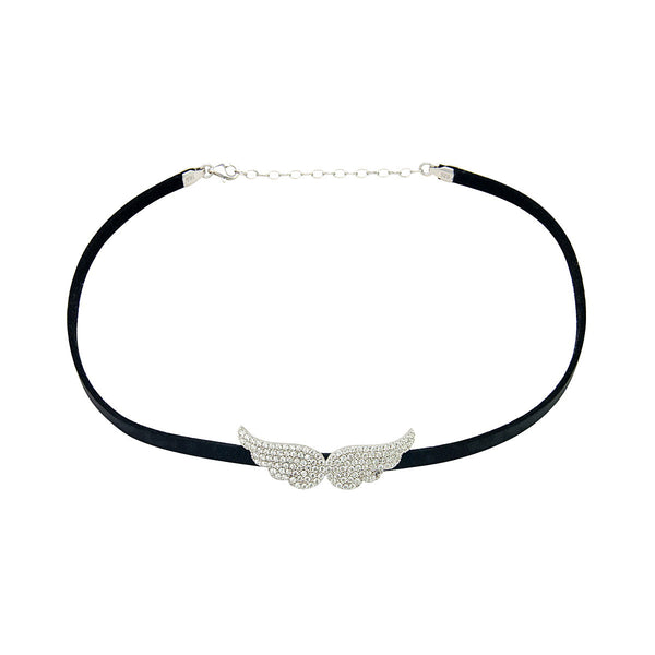 ANGEL Silver angel wings with zirconia on leather choker necklace
