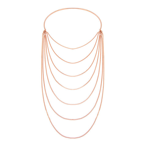 NOELIA Geometric half round pendant on a long sterling silver necklace
