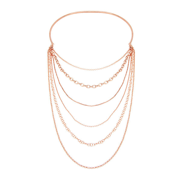 BIANCA Multi chain sterling silver choker rose gold plated