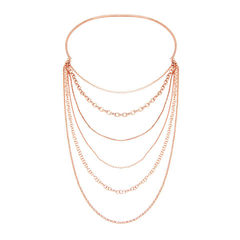 RISHI Gold Plated Sterling Silver Beaded Triple Bar Chain Choker