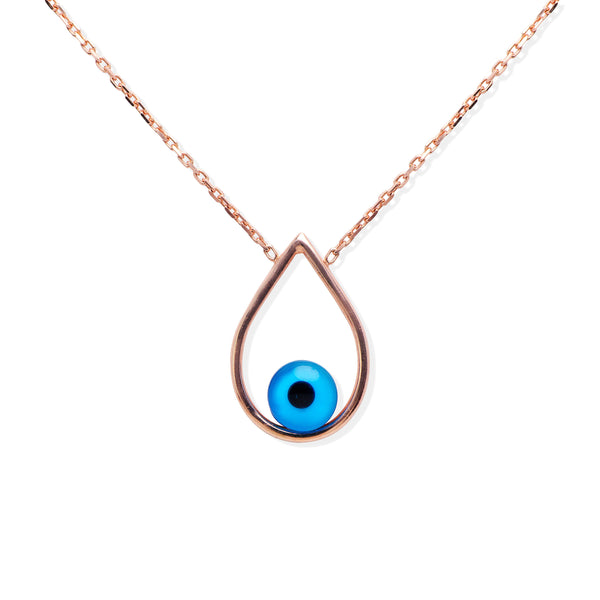 CADENZA Sterling silver Evil eye teardrop pendant rose gold plated